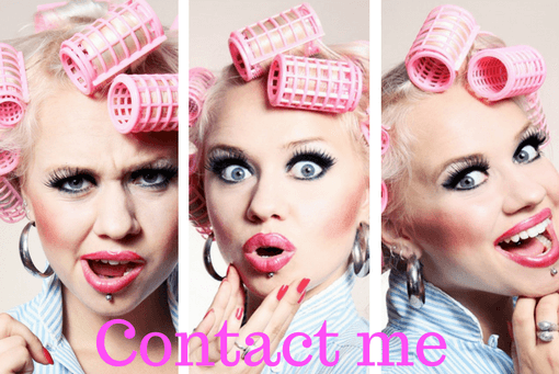 Faces of woman in curlers for contact page